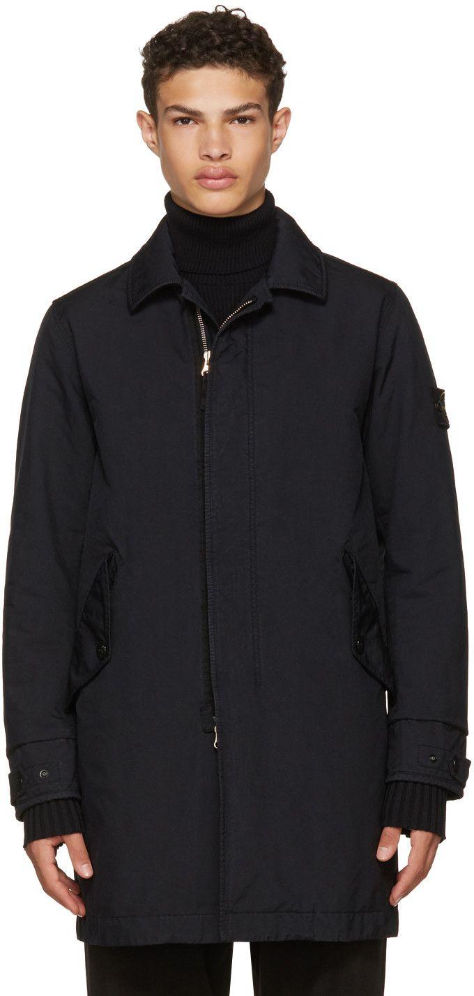 STONE ISLAND Navy Classic Long Coat. #stoneisland #cloth #coat