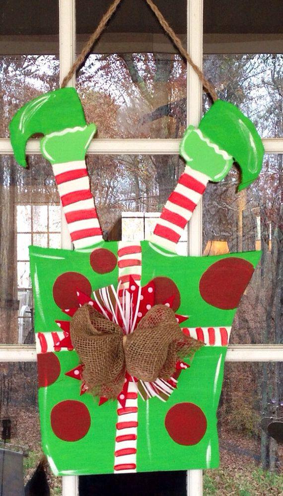 Elf Present Door Hanger on Etsy, $33.00