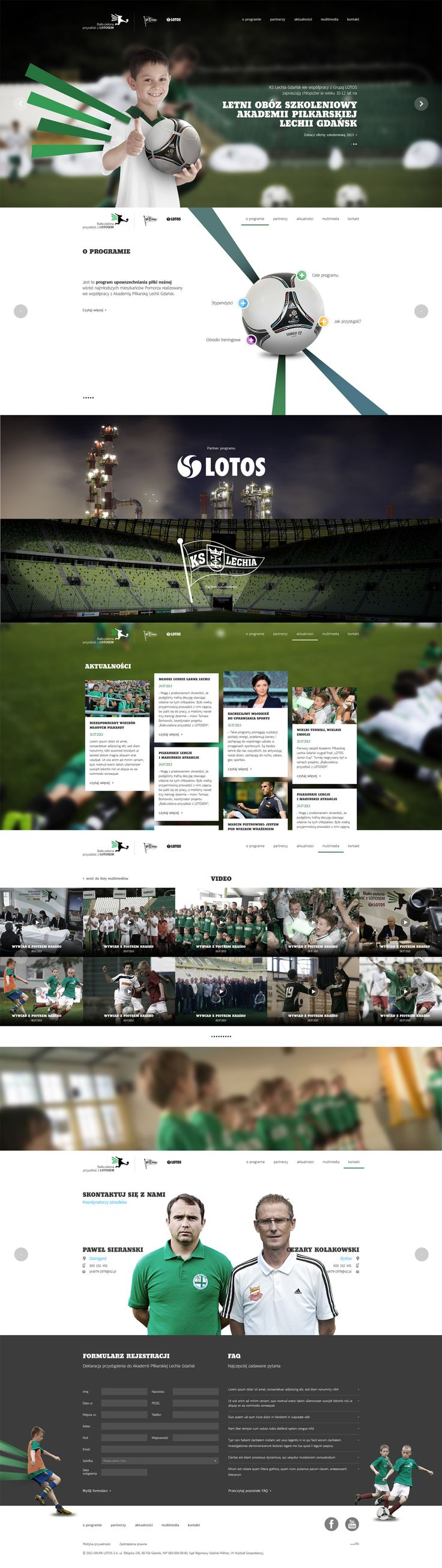 Big images and lots of parallax scrolling in this promotional one pager for 'LOTOS Young Footballers'.