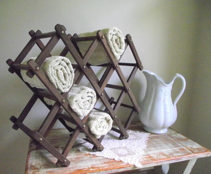 Accordion Wine Rack or Spa Towel Stand Vintage Wood Rack