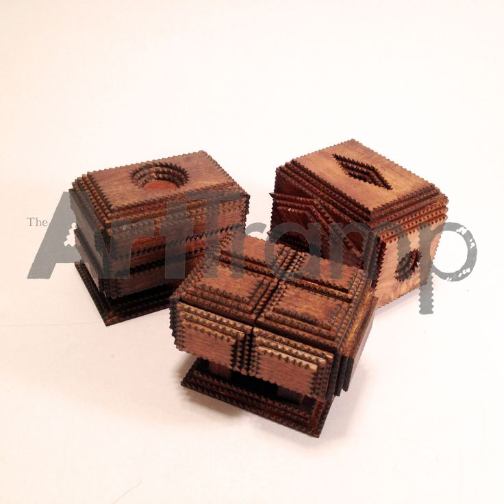 """""""Trinket Boxes"""" ~ Small Tramp Art Boxes. These are the first three in a series of designs. Original design by David A. Schump a.k.a. The Art Tramp ©2013-2017"""