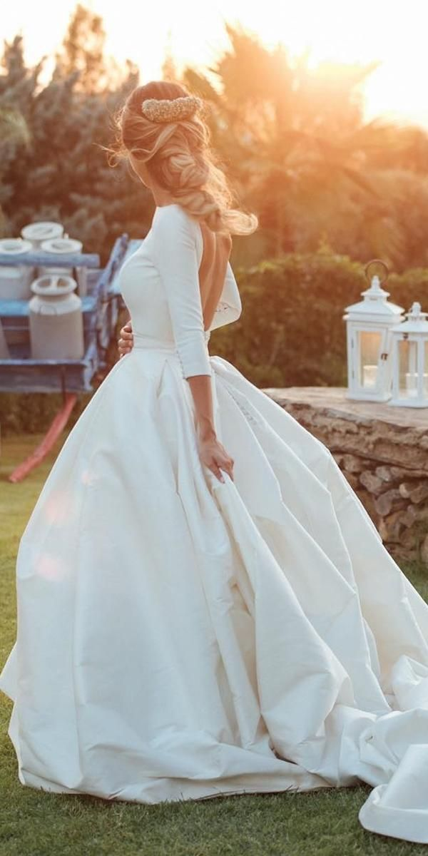 simple wedding dresses ball gown with sleeves open back train kiwo estudio