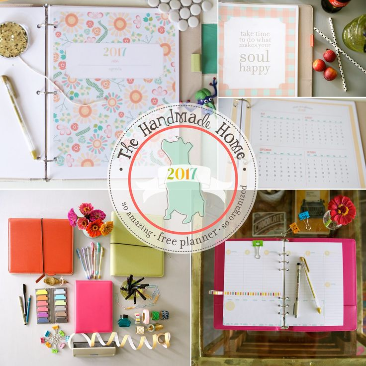 "I loved using this planner last year! For 2017, I am using The Happy Planner in combination with all of the great pages created by The Handmade Home. Just use the full size pages and print at 84%. Then trim to 7"" x 9.25"" and add them to The Happy Planner! free planner 2017 - great options for the new year!"