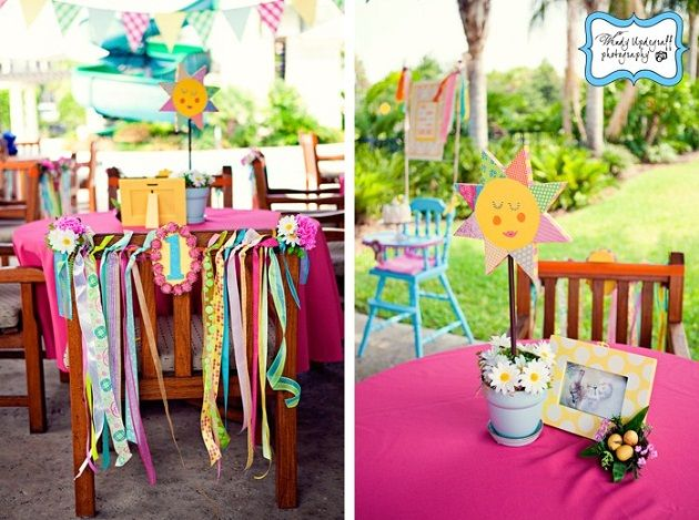 """brunch for one year old's bday party! super sweetest theme """"you are my sunshine"""" - in loooove with the colors, design, fabrics, ribbon - yes!"""