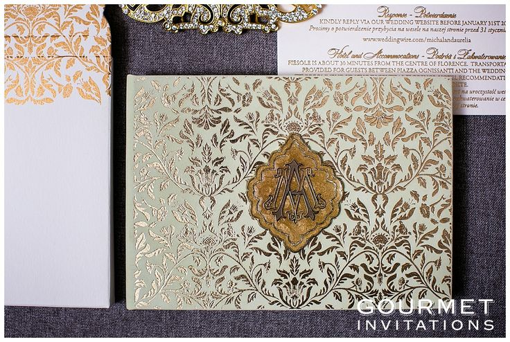 Our mint and gold invitations are one of the more luxurious wedding invitations we have designed. They are mint colored velvet with gold foil printing. Click to read more or pin and save for later!
