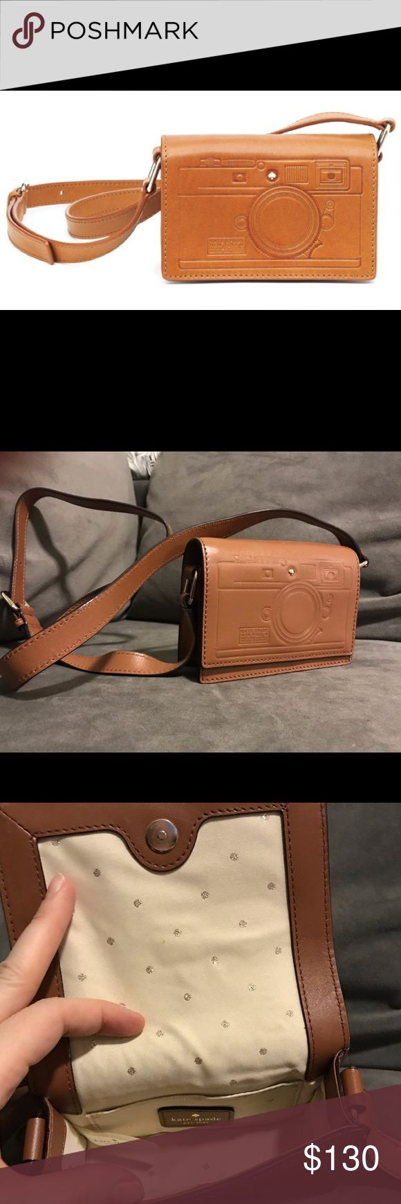 """Kate Spade Camera Crossbody bag Kate Spade New York """"Gwen"""" crossbody - tan small leather bag with camera outline embossed on front flap.  Very cute. New. kate spade Bags Crossbody Bags"""