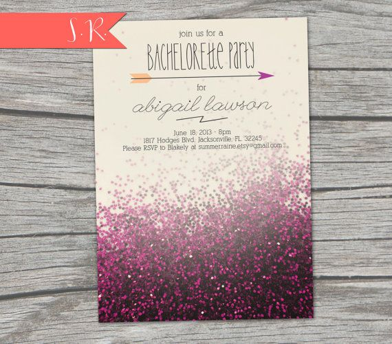 Glitter Bachelorette Party Invitation  Digital by SummerRaine, $15.00