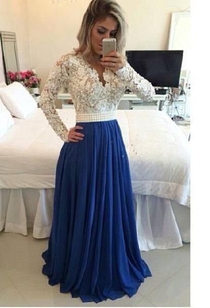 Floor Length Evening Dresses Uk 2015 Myriam Fares Arabic Formal Evening Dresses With Long Sleeves V Neck Beaded Pearls Lace Chiffon Muslim Red Carpet Gowns Illusion Back Evening Dresses Under 50 From Nicedressonline, $156.64| Dhgate.Com