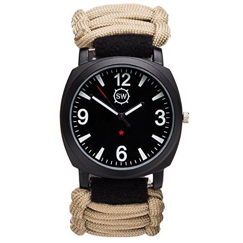 SharpSurvival Paracord Camping Watch with Fire Starter, Whistle and Compass - Tan - CUSTOMERS SAY: I can\'t say enough good-a camper\'s dream!   A must-have for any outdoor enthusiast!. ULTIMATE SURVIVAL TOOL: Perfect for camping, wilderness hikes, outdoor enthusiasts & military. 5 ATM WATER RESISTANT: Can be submerged for up to 15 minutes. Features luminous face for night use. ADJUSTABLE PARACORD WRIST BAND: 12+ ft 550lb nylon paracord for trapping, fishing, marking trails. SURVIVAL GEAR IN…