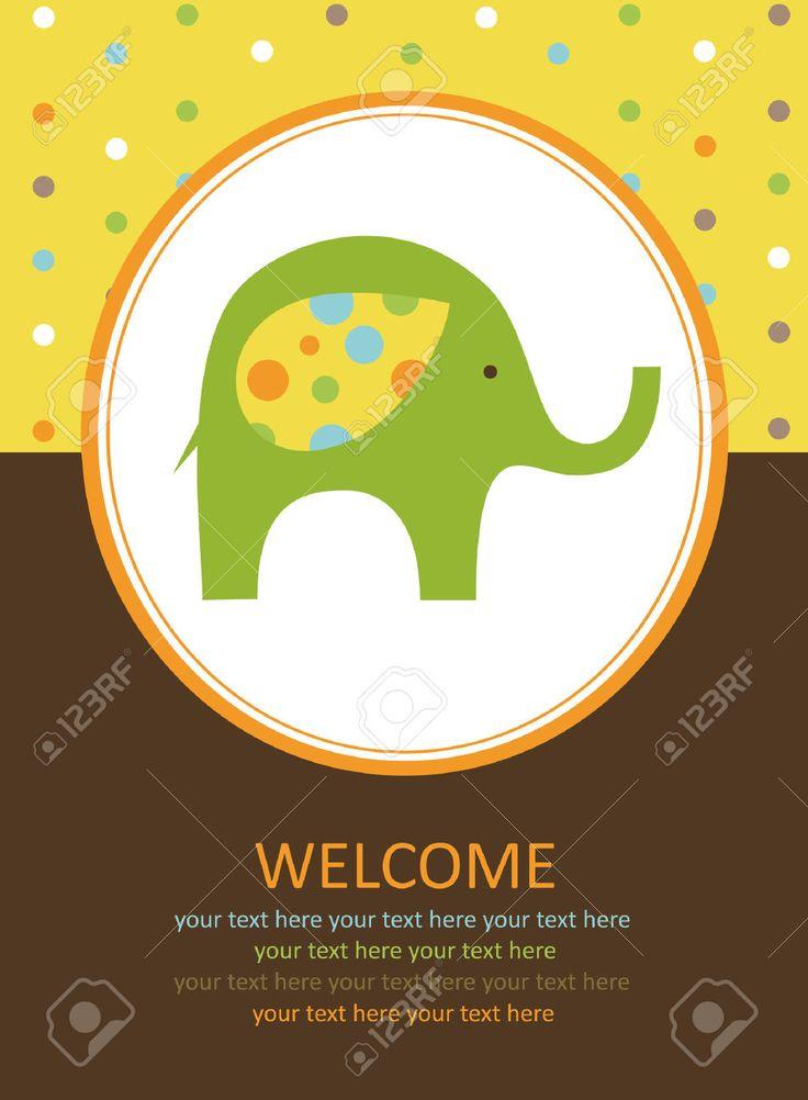 милые карты с слона. векторные иллюстрации Клипарты, векторы, и Набор Иллюстраций Без Оплаты Отчислений. Image 22590526.