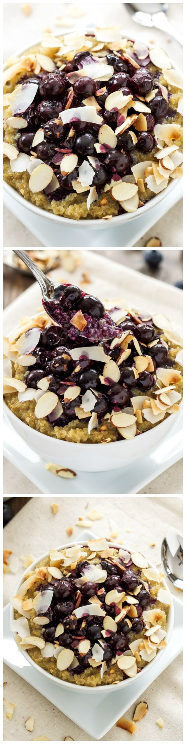 These quinoa breakfast bowls taste as good as blueberry pie and are full of protein!