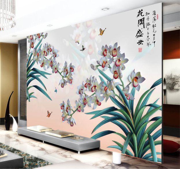 papier peint orchidée en effet bas relief