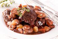 Beef & Mushrooms in Rubesco Wine
