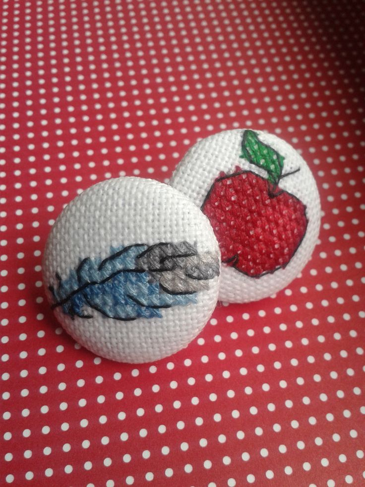 Feather and apple cross stitch buttons