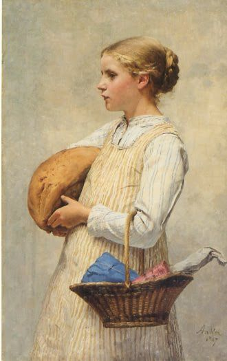 """Girl with Bread"" (1887), by Swiss artist - Albert Anker (1831-1910), Oil on canvas, 70 x 44 cm. (27.56 x 17.32 in.), Kunstmuseum - Bern, Switzerland."