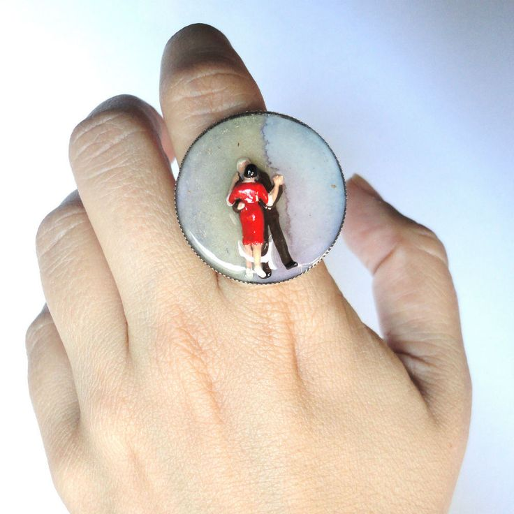 dancers ring, dancing on stars, mini romance ring, lovers, miniature ring, resin ring, contemporary ring, adjustable ring, miniature couple by CloJour on Etsy