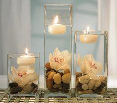 Centrotavola fai da te con sassi e candele - Bellissimi centrotavola perfetti per le nozze.