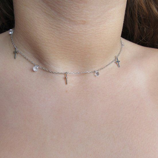 ab37392c18de Choker cruces de Plata | Collar para mujer | Minoplata Aquí tenemos ...