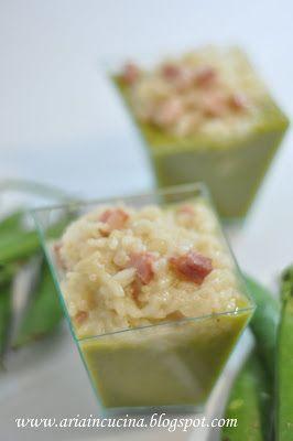 Blog di cucina di Aria: Mangia e bevi: risi con pancetta su vellutata di b...