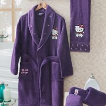 Evdenemoda.Com - SAB EV TEKSTİLİ - Hello Kitty Kutulu Çocuk Bornoz Seti 10-12 Yaş ( Mor )