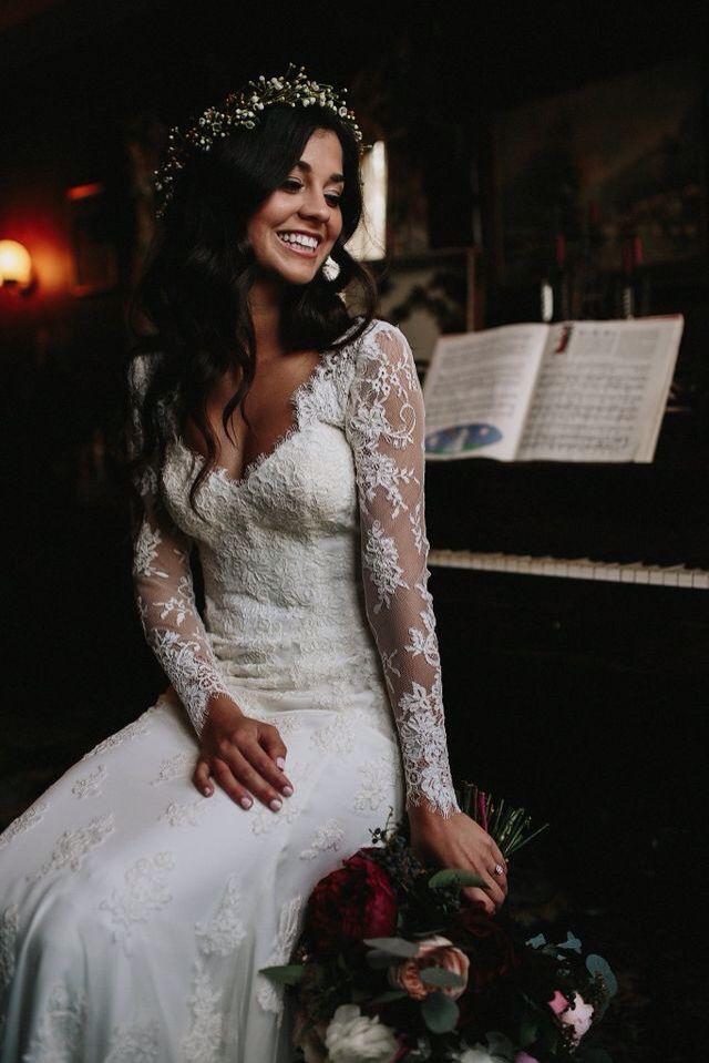vestido de noiva com manga longa, perfeito para dias frios.