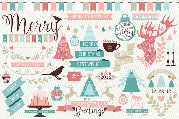 Vector Christmas design elements by ievgeniia on Creative Market - free only this week (20151221-26) #printable #vector