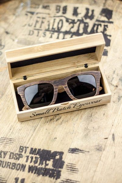 Amazing High Quality Sunglasses Made from Actual Bourbon Barrels. Made from Used White Oak Kentucky Bourbon Barrels Authenticity Certificate Indicates the Brand of Bourbon In The Barrel  100% UV Protection Polarized Lenses, Smoke Tint Double Hinged Construction To Ensure Snug Fit Ships in a Custom Oak Case for Storage & Care #bourbonandboots