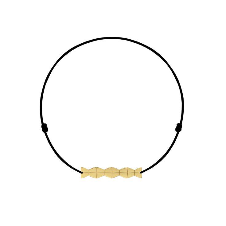14-karat yellow gold Infinity column on string bracelet - Malvensky