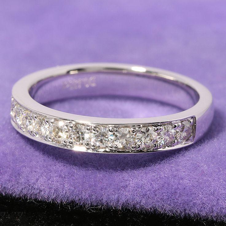 0.455 Карат кт Обручальное кольцо Половина Вечность Группа Matching Lab Grown Муассанит Алмаз Группа Подлинная 14 К 585 Белое Золото