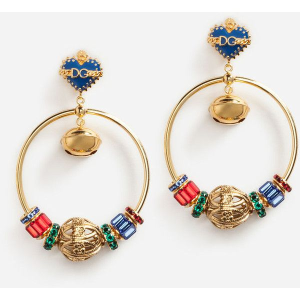 Dolce & Gabbana Pendant Earrings With Hoops (91,015 INR) ❤ liked on Polyvore featuring jewelry, earrings, gold, yellow gold pendant, gold earrings, gold jewellery, hoop earrings and dolce gabbana earrings