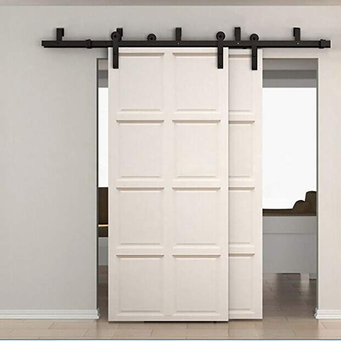 Amazon Com Zekoo 5 16 Ft Bypass Barn Door Hardware Double Door Kit Rustic Black Steel Metal Rai Wood Doors Interior Bypass Barn Door Hardware Bypass Barn Door