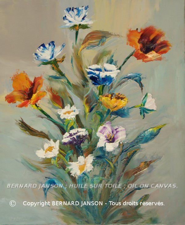 Oeuvre de peinture huile au couteau bouquet de fleurs des for Bouquet de fleurs 60 ans