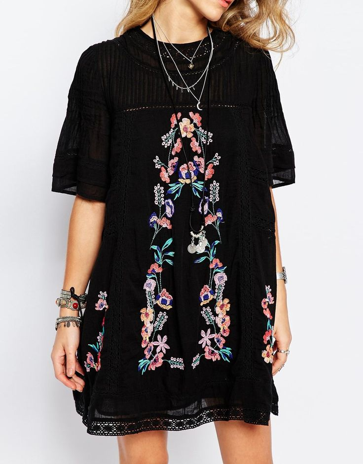 Image 3 of Free People Victorian Embroidered Smock Dress in Black