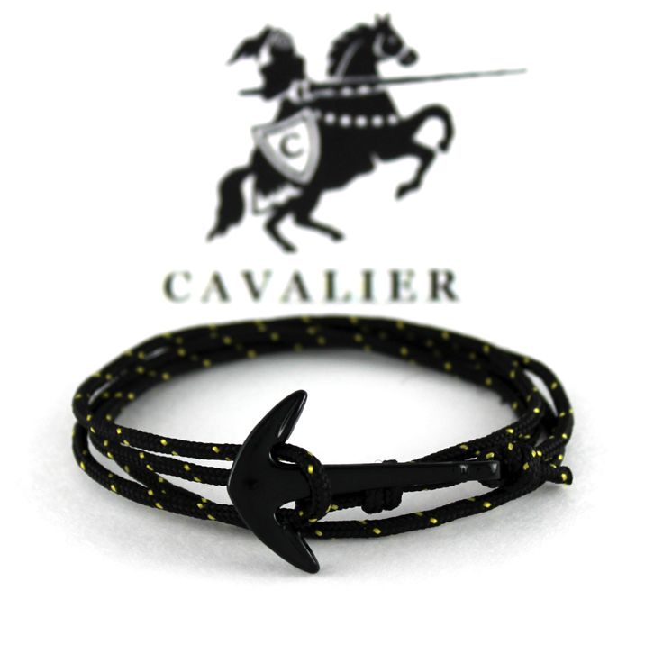 Yellow Adjustable Corded Anchor Bracelet www.mycavalier.co