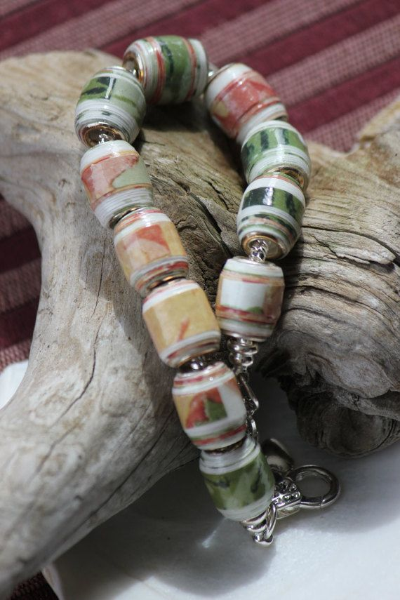 PAPER BEAD BRACELET: Awesome Autumn COST: 25.00 CAD  Unique Nova Scotia handmade jewelry for anniversary or for everyday wear. One of a kind, paper