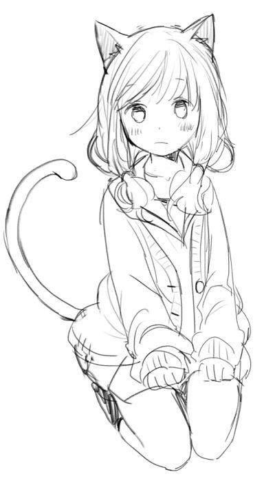 Neko girl kawaii Anime drawings sketches, Cute drawings