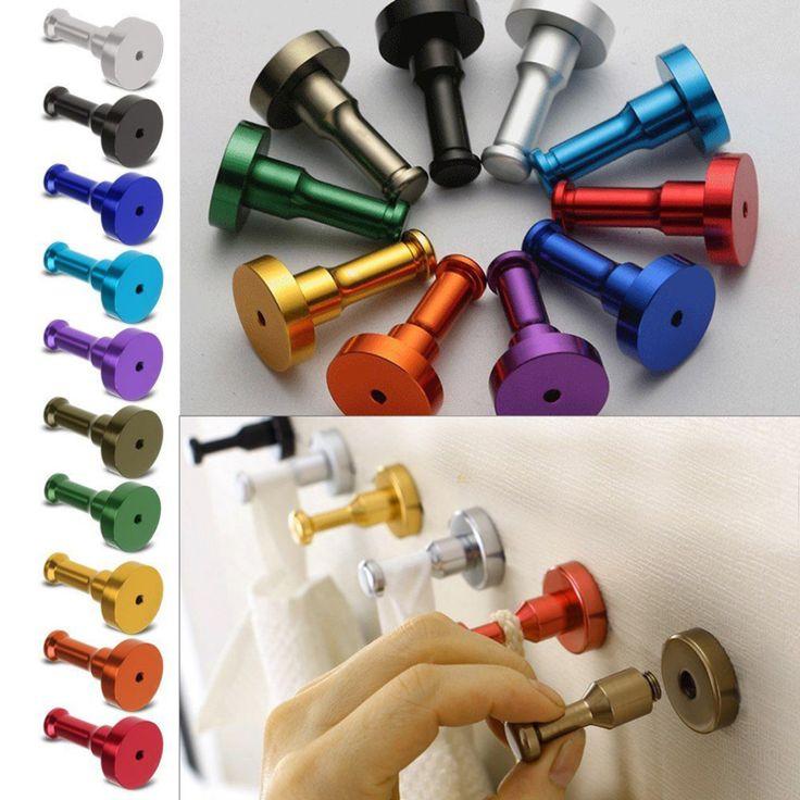 10 colores multicolor diy de la pared de toallas de aluminio espacio gancho de uñas baño cocina ropa clave perchero suspensión del bolso titular