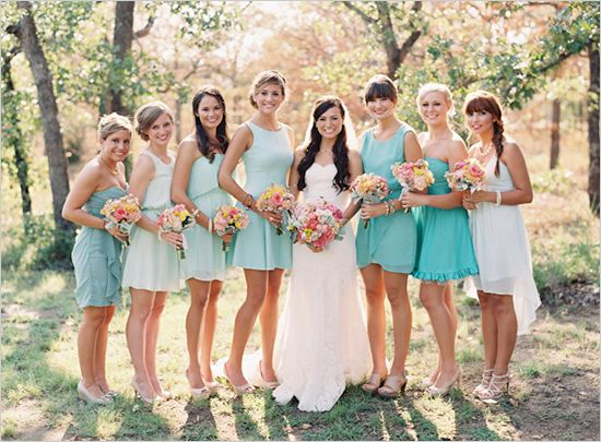 Mint bridesmaid dresses. Jessica allowed her bridesmaids to choose their own dresses (as close to mint as possible) in order to show each of their personal styles as well as to give the bridal party a more relaxed feel. Wow, what a cool friend!