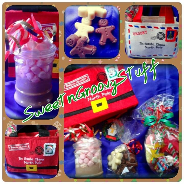 Lovely treat for Christmas/Christmas Eve  Victorian Style jar of Hot Chocolate & Mini Mallows,  3 Candy Cane Stirrers,  Pick 'n' Mix Sweet Bomb,  Bag of Milk & White Chocolate Gingerbread Men  2013 Christmas Decoration (Snowman or Santa)  In a lovely Felt Gift Bag (Santa Suit Parcel or Airmail Letter) #Christmas #santa #gift #bag #hotchocolate #gingerbreadman #sweets #sweetngroovystuff #christmaseve #red #holidays #treat #hotchoc #candy #candycarthire #sweetcart