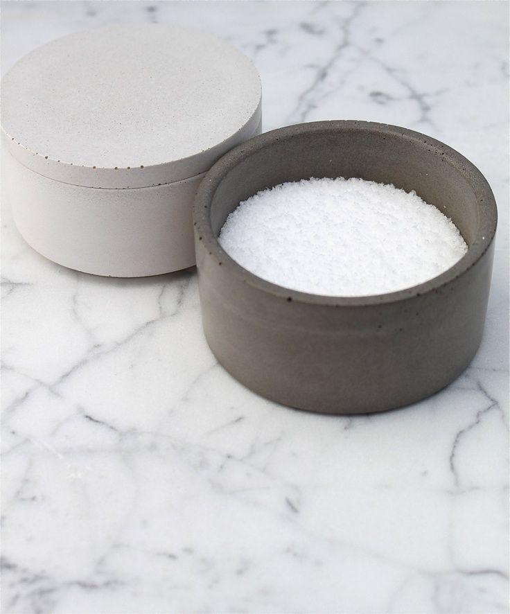 Concrete salt cellar by Culinarium (?).