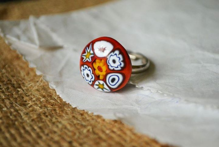 Millefiori fused glass ring by Mylittlethings Jewelry #glassfusing #millefiori #fused #glass #jewelry