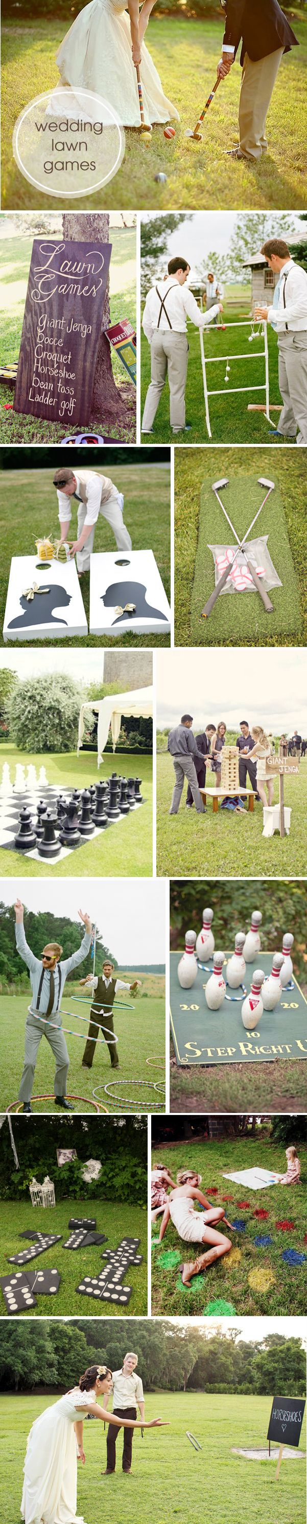 Round-up of super fun and unique wedding lawn games! giant Jenga. corn hole. ect
