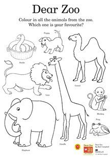 Dear Zoo colouring activity sheet. You can also find other sheets, such as a mask and spot the difference here.