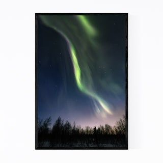 Noir Gallery Northern Lights Lapland Finland Framed Art Print (24 x 36 – White)