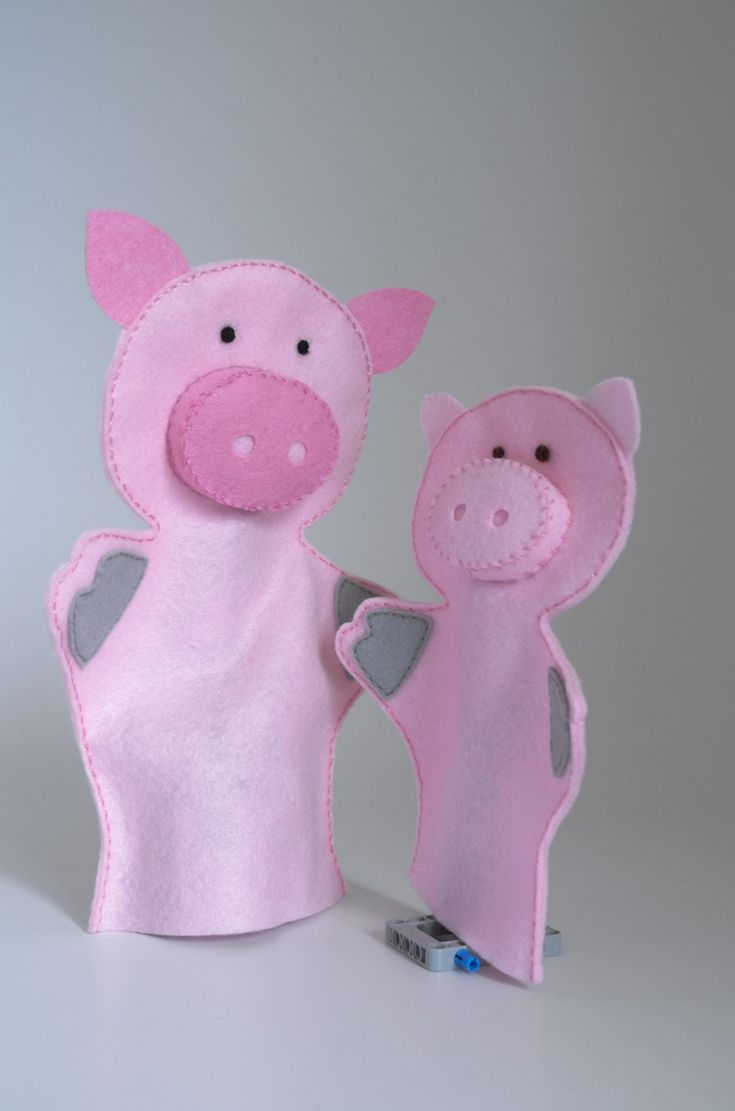 Pig puppets, hand puppet, hand puppets for children, puppet set, hand puppet set by KinkinPuppets on Etsy