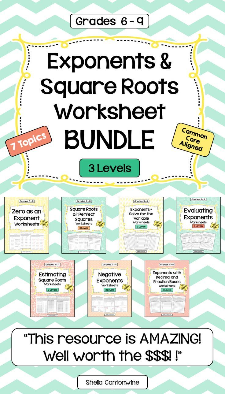 worksheet Exponents And Square Roots Worksheets exponents and square roots worksheet bundle differentiated with 3 levels roots