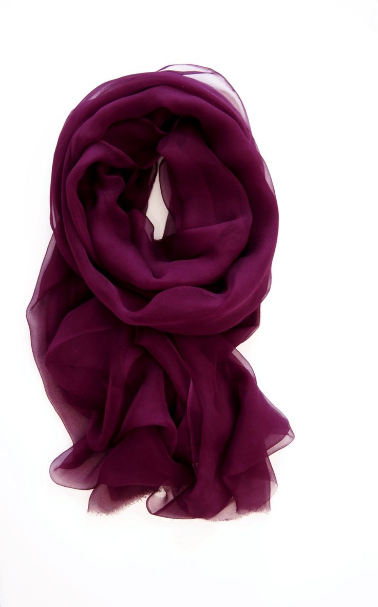 Wine Scarf Burgundy Silk Scarf Garnet Red Silk by TheChicArtisan