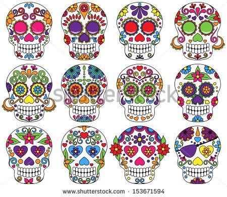 Conjunto de vectores sobre el día de los muertos o cráneos de azúcar.