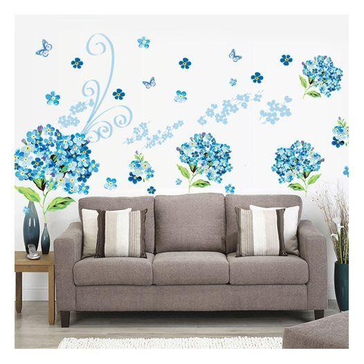 Hemdekor - Väggdekor Blå blommor