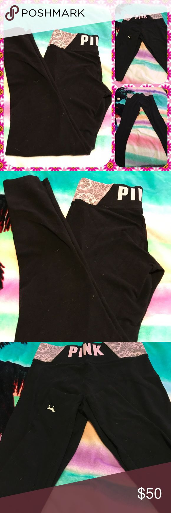 Like New Pink Victoria's Secret Black Yoga Pants Like new Pink Victoria'sSecret black straight leg yoga pants.  Size extra small.  Mauve Lace waistband w/ the letters PINK in white on the back.  No trades.  Will price drop. PINK Victoria's Secret Pants Leggings